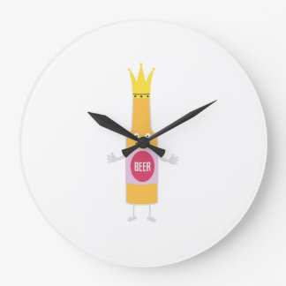 Queen Beer bottle with crone Zfq4y Large Clock