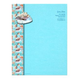 Queen Conch Sea Shells Ocean Blue Letterhead