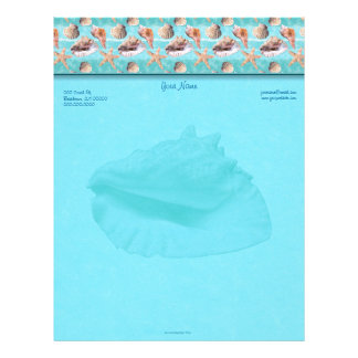 Queen Conch Sea Shells Ocean Blue Top Border Letterhead