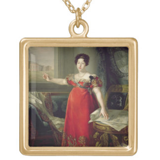 Queen Dona Maria Isabel de Braganza, 1829 (oil on Gold Plated Necklace