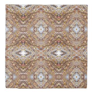 Queen Duvet Cover- Natural Earthtones Beads Print
