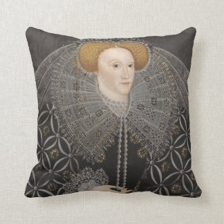 Queen Elizabeth 1 - Black Dress Throw Pillow