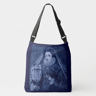 Queen Elizabeth I in blue print Crossbody Bag