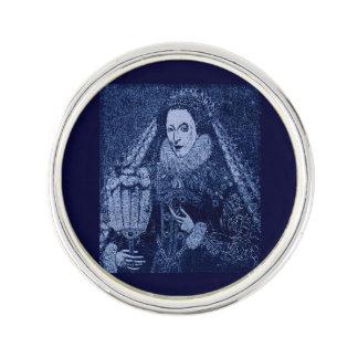Queen Elizabeth I in blue print Lapel Pin
