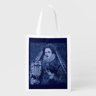 Queen Elizabeth I in blue print Reusable Grocery Bag