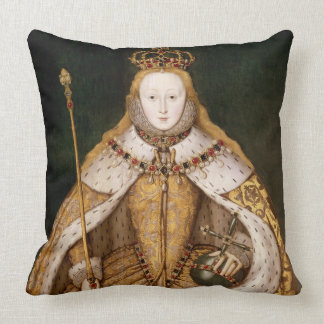 Queen Elizabeth I in Coronation Robes Throw Pillow