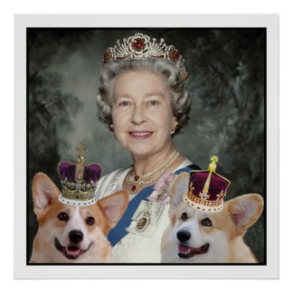 Queen Elizabeth II and her Corgi dogs Poster