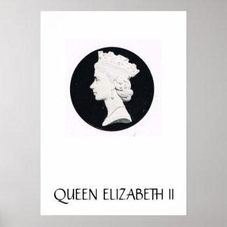 Queen Elizabeth II relief drawing Posters
