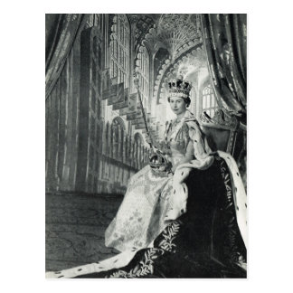 Queen Elizabeth II wearing coronation regalia Postcard