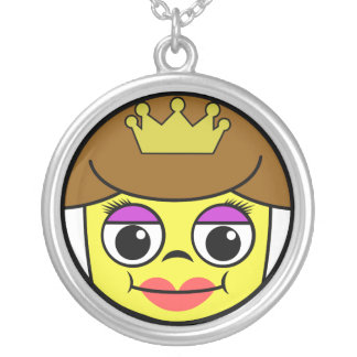 Queen Face Silver Plated Necklace