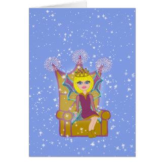 Queen Faerie Blonde Sitting on Throne Cartoon Art Card