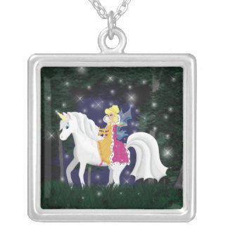 Queen Faery and Unicorn Forest Necklace