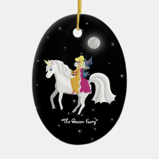 Queen Faery Unicorn Christmas Ornament