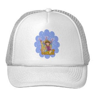 Queen Fairy Brunette Sitting on Throne Cartoon Art Trucker Hat