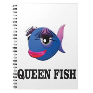 queen fish blue yeah spiral notebook