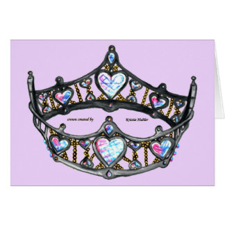 Queen Heart Silver Crown Tiara pink lilac notecard