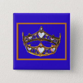 Queen Hearts Gold Crown Tiara blue violet button