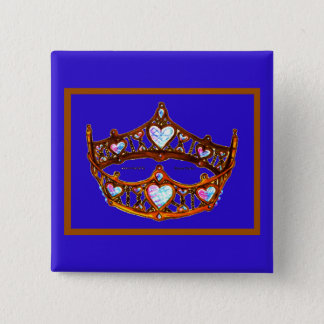 Queen Hearts Gold Crown Tiara blue violet pin