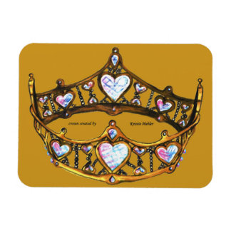 Queen Hearts Gold Crown Tiara mustard gold magnet