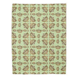 Queen Hearts Gold Crown Tiara pattern mint green Duvet Cover