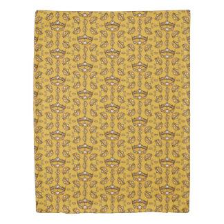 Queen Hearts Gold Crown Tiara pattern mustard Duvet Cover
