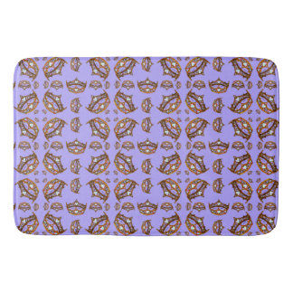 Queen Hearts Gold Crown Tiara pattern periwinkle Bath Mat