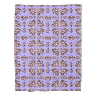 Queen Hearts Gold Crown Tiara pattern periwinkle Duvet Cover