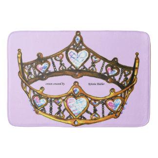 Queen Hearts Gold Crown Tiara pink lilac bath mat