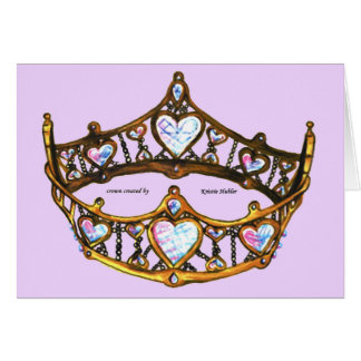 Queen Hearts Gold Crown Tiara pink lilac notecard