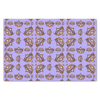 Queen Hearts Gold Crowns Tiaras periwinkle tissue Tissue Paper