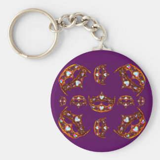 Queen Hearts Gold Crowns Tiaras royal purple Keychain