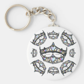 Queen Hearts Silver Crowns Tiaras white keychain