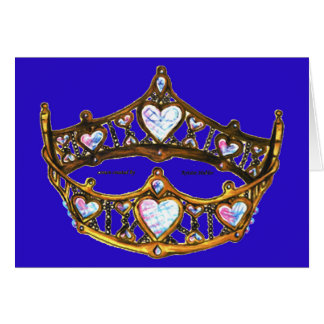 Queen Hearts Yellow Gold Crown Tiara blue violet Card