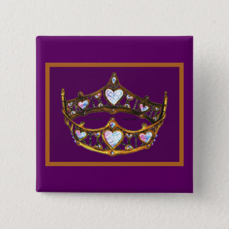 Queen Hearts Yellow Gold Crown Tiara royal purple 2 Inch Square Button