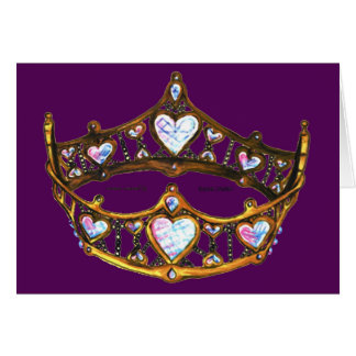 Queen Hearts Yellow Gold Crown Tiara royal purple Card