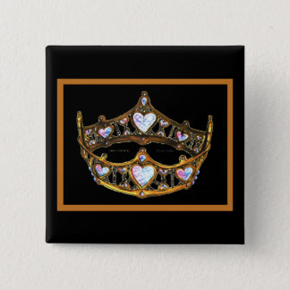 Queen Hearts Yellow Gold Crown Tiara white button