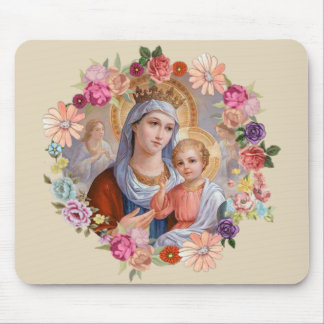 Queen Heaven Baby Jesus Angels Flowers Roses Mouse Pad