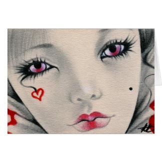 Queen jester heart face Card
