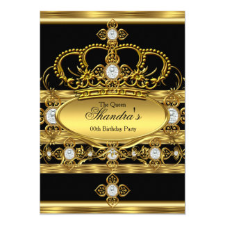 Queen King Prince Royal Gold Diamond Crown Party Card