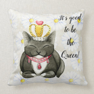 Queen Kitty Cat Silly Throw Pillow