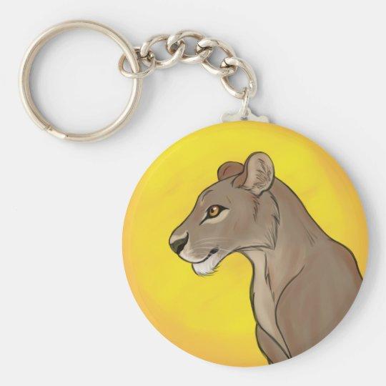 Queen Lioness Basic Round Button Keychain