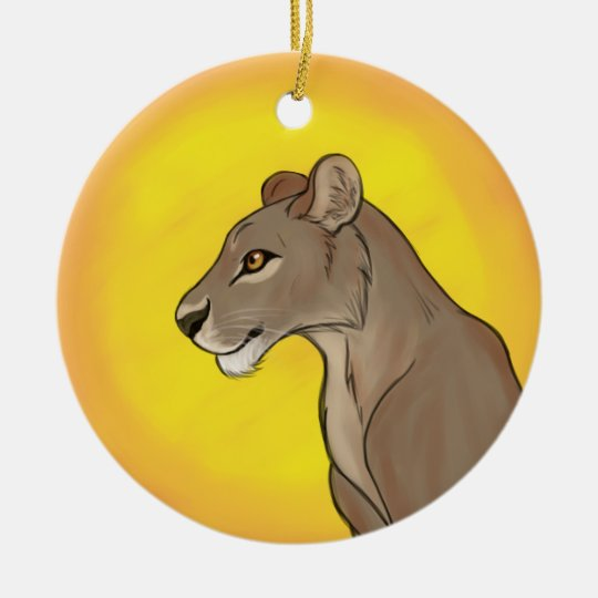 Queen Lioness Ceramic Ornament