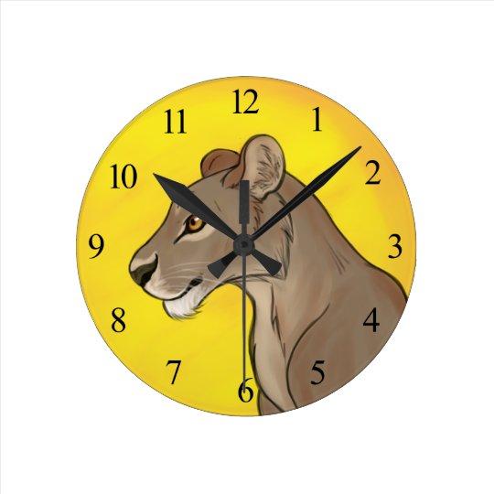 Queen Lioness Round Clock