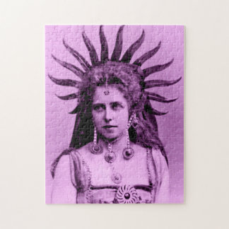 Queen Marie of Romania as the Sun Queen - pink Jigsaw Puzzle