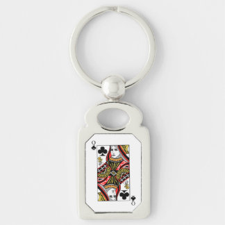 Queen of Clubs Keychain