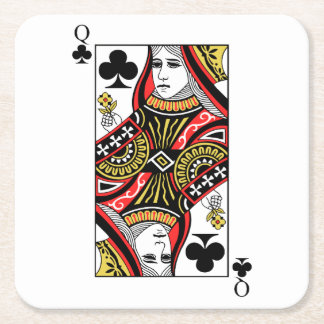 Queen of Clubs Square Paper Coaster