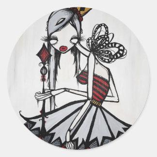 """Queen of Diamonds"" Round Stickers"