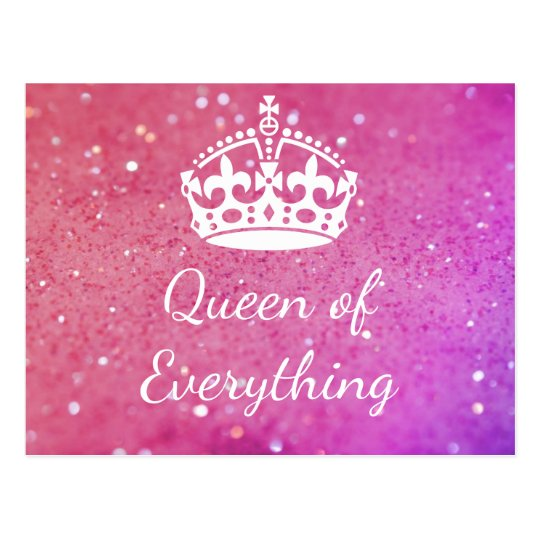 Queen of Everything Crown Pink Bokeh Postcard