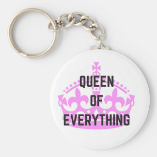 Queen Of Everything Crown Text Illustration Basic Round Button Keychain