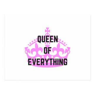 Queen Of Everything Crown Text Illustration Postcard